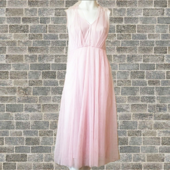 Forever 21 soft pink tulle overlay dress with slip